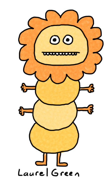 a drawing of a creature that is a combination of a lion and a caterpillar