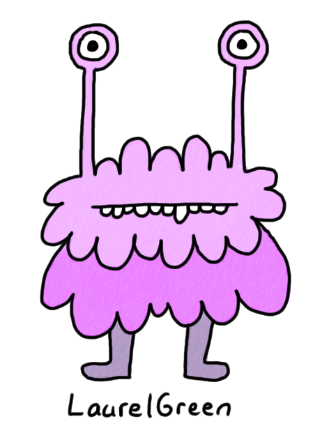 a drawing of a purple creature with eyestalks