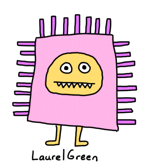 a drawing of a rectangular creature with spikes coming out of it.
