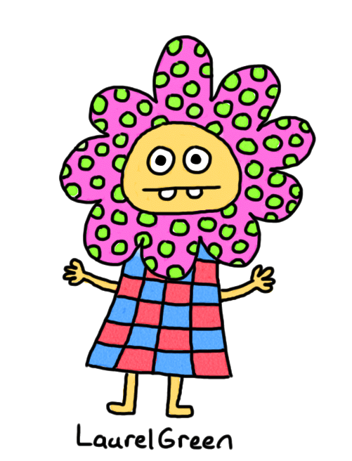 a drawing of a person with a polka dot collar and a checkerboard dress