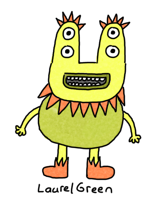 a drawing of a weird person with a spiky eyebrows, a spiky beard and four eyes.