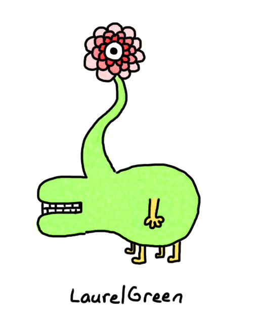 a drawing of a quadrupedal, cycloptic creature with petals around its one eye