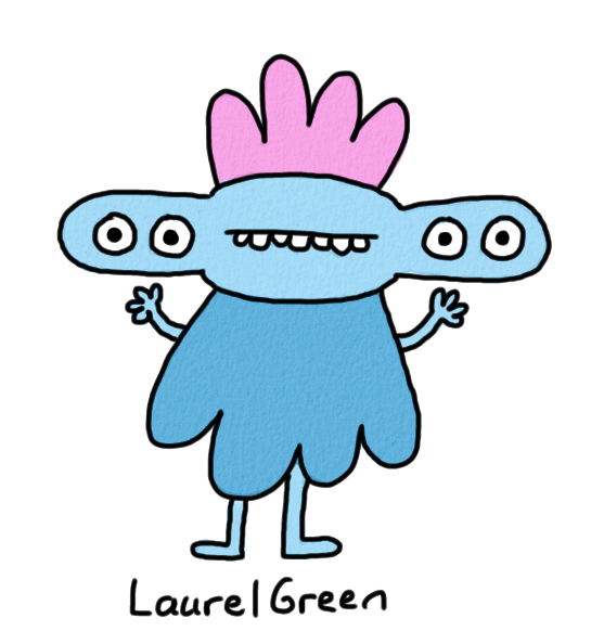 a drawing of a weird creature with four eyes and a lumpy body
