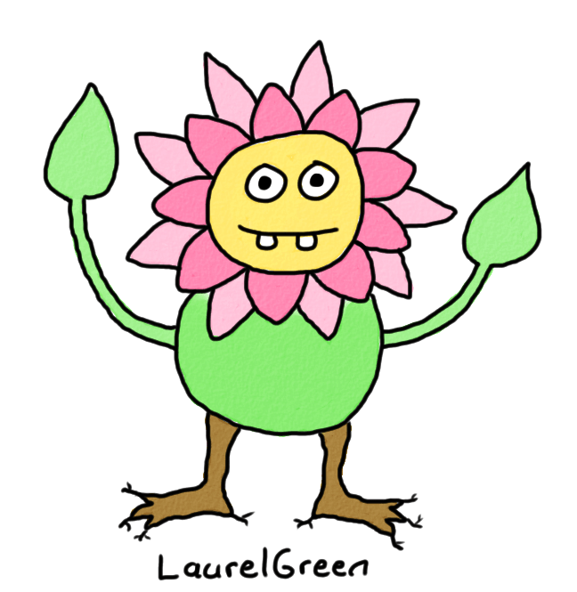a drawing of a fat anthropomorphic flower person