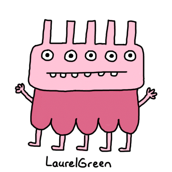 a drawing of a pink creature with five eyes, five legs, five spikes on its head and janky teeth
