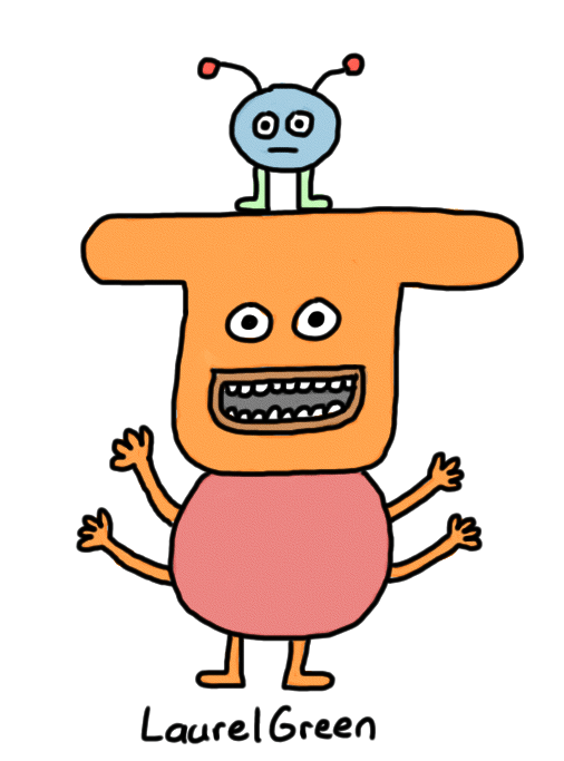 a drawing of a four-armed creature with a little critter hanging out on its head