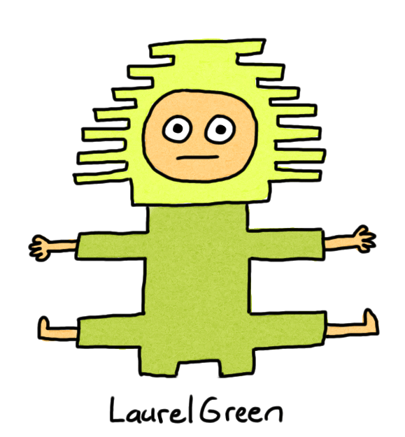 a drawing of a person covered in green rectangular spikes