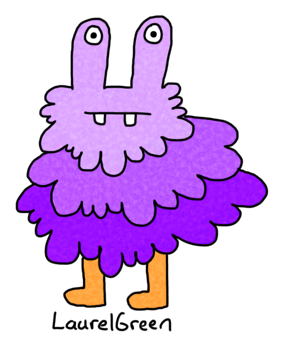 a drawing of a fuzzy purple creature with buckteeth