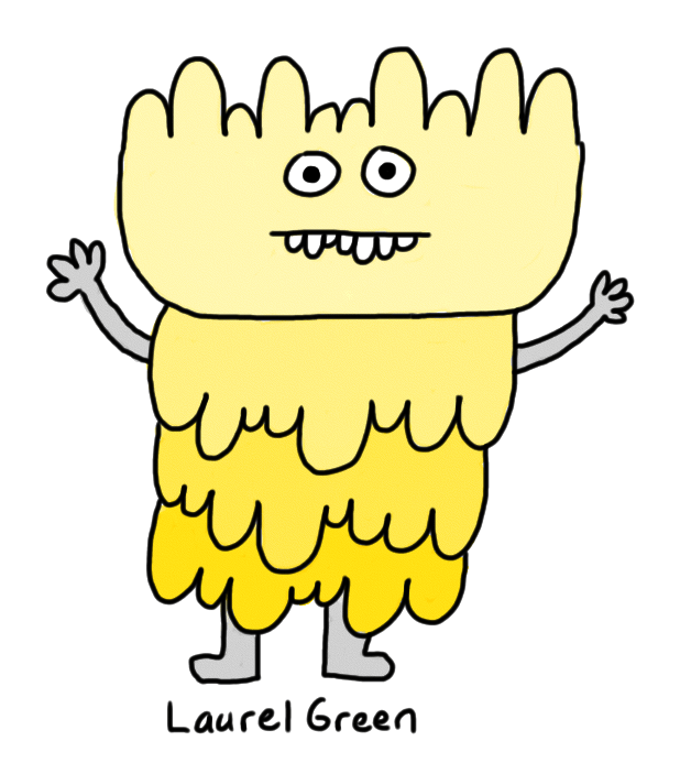 a drawing of a yellow, lumpy creature that looks unhappy