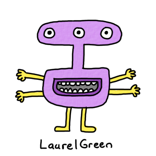 a drawing of a creature with a weirdly-shaped head, three eyes and four arms