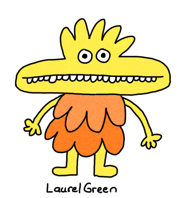 a drawing of a cute, yellow creature with a very wide mouth