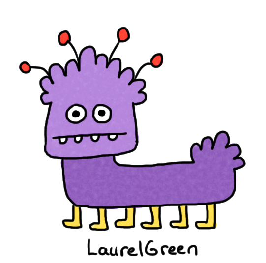 a drawing of a weird purple animal with six legs and four antennae coming out of its head