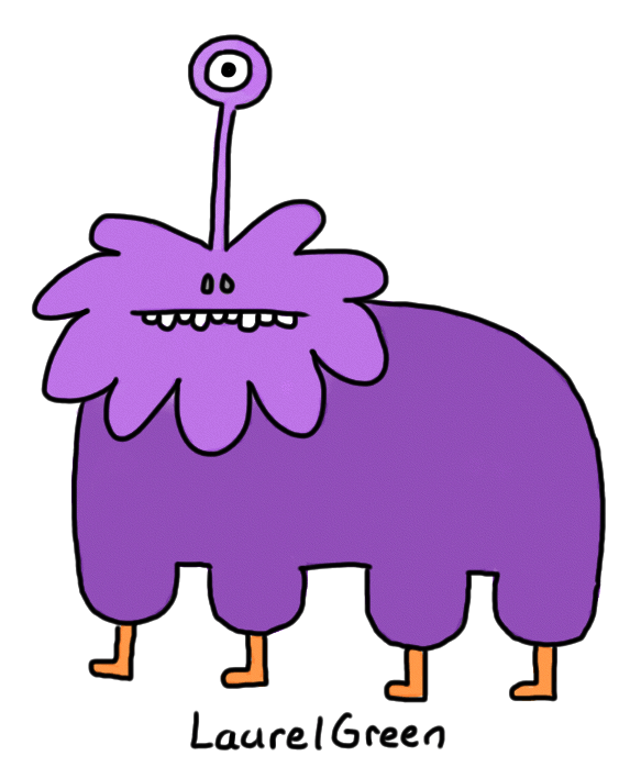 a drawing of a large purple quadruped with one eyestalk