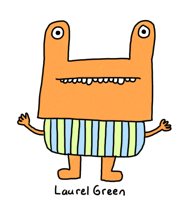 a drawing of a wide person with eyestalks and a striped shirt