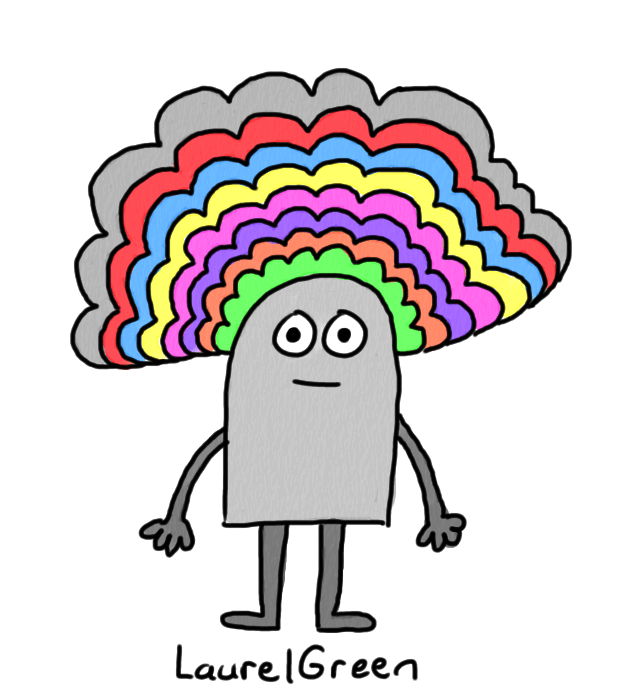 a drawing of a grey person with very colourful hair