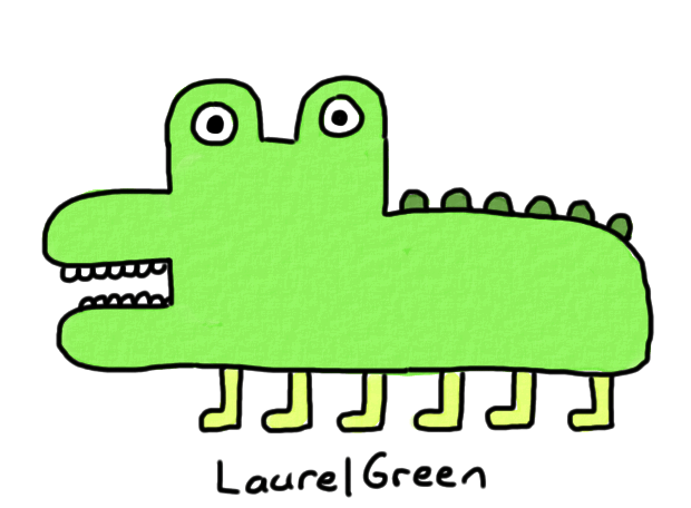 a badly-drawn lizard with six legs