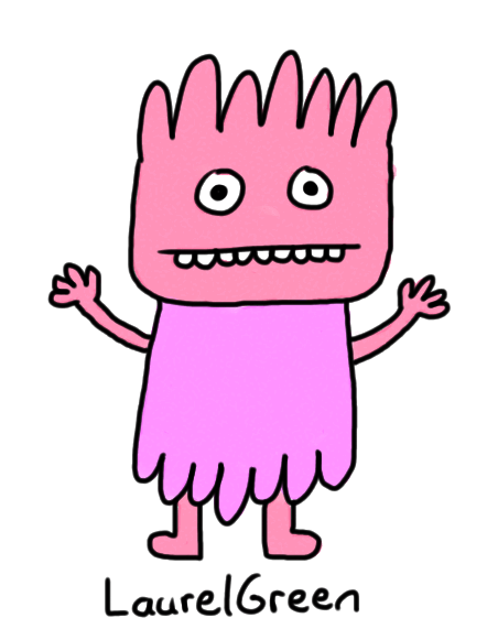 a drawing of a boring pink person in a dress