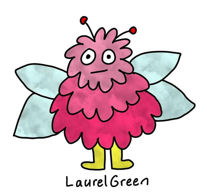 a drawing of a pink bug with a cloudy texture on it