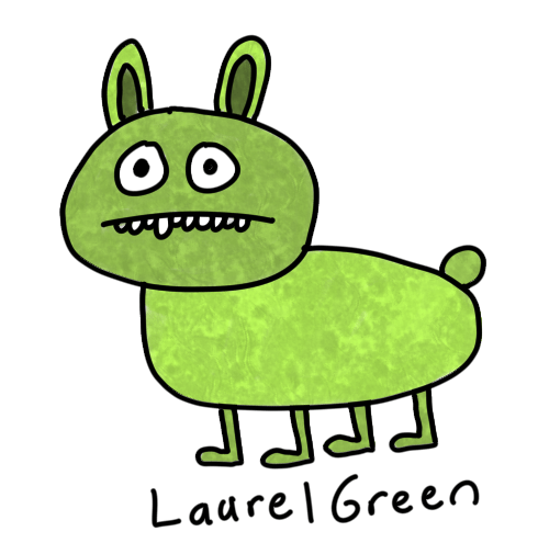 a drawing of a green sickly rabbit
