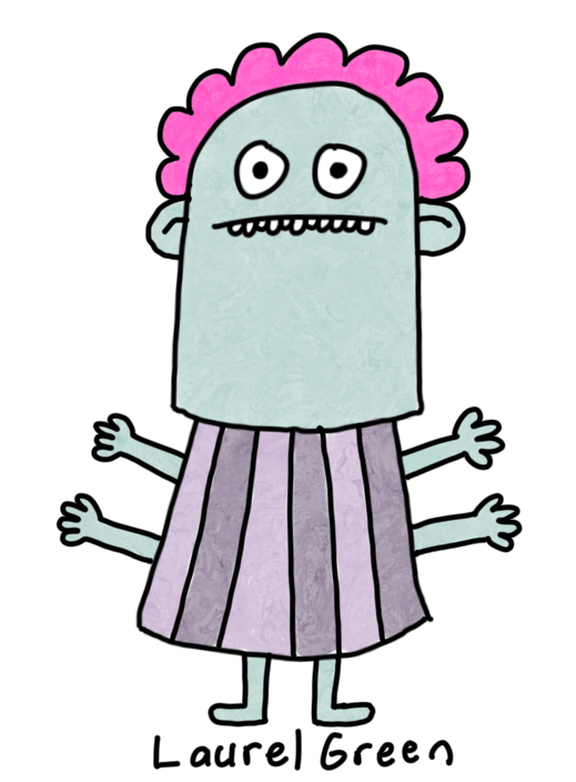 a drawing of a weird grey lady