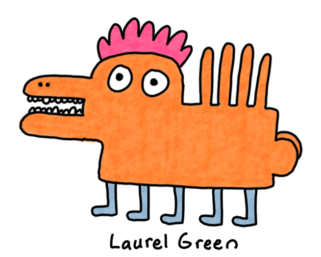 a drawing of a spiky orange monster with a weird butt and five legs