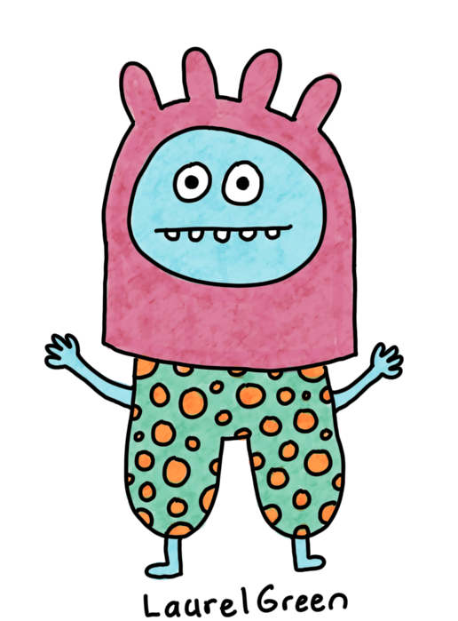a drawing of a person wearing a weird hat that looks like udders and spotty pants