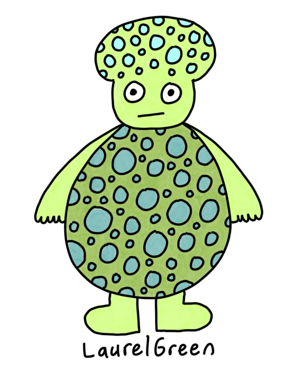 a drawing of a round green creature cover in spots