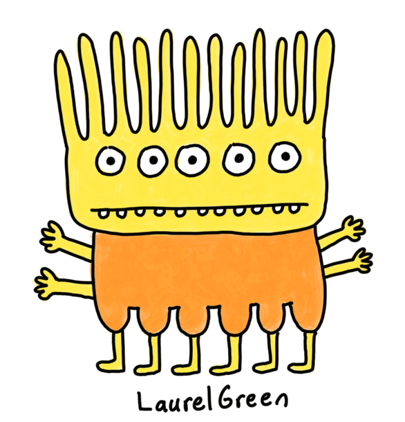 a drawing of a warm-coloured creature with five eyes, four arms and six legs