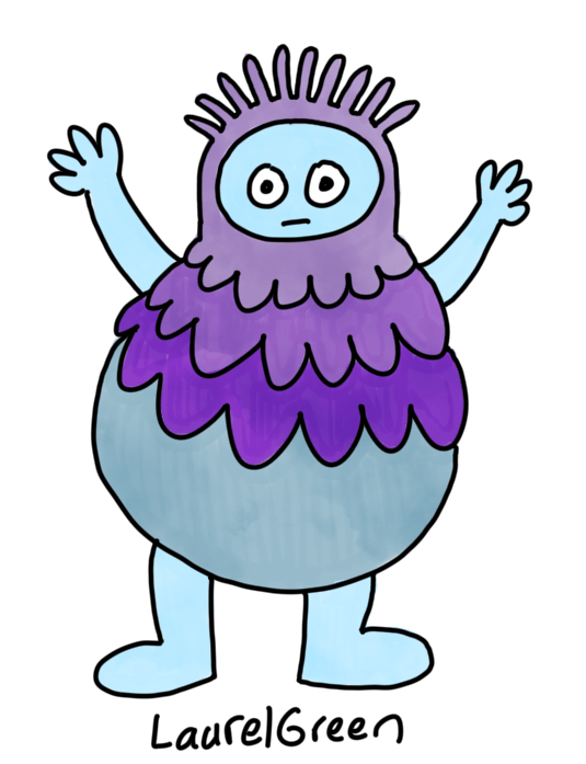 a drawing of a round person with a spiky head