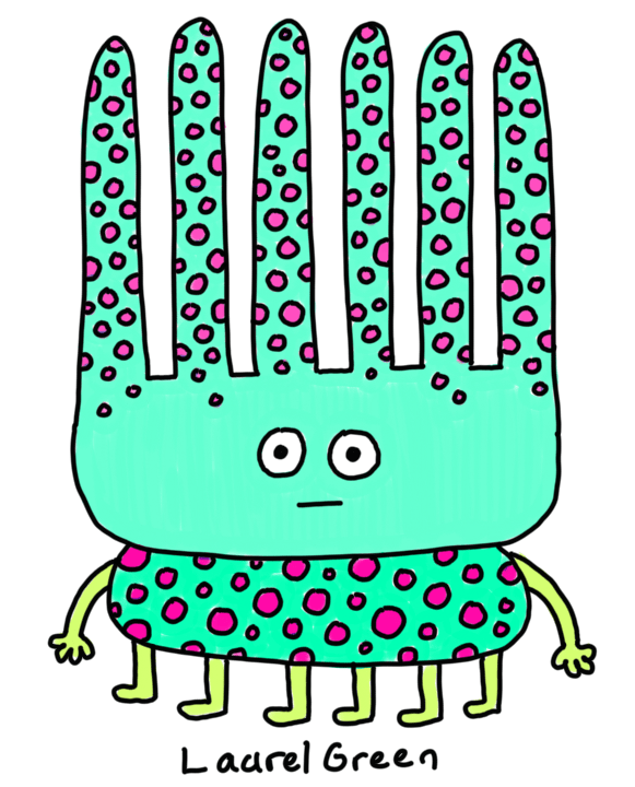 a drawing of a diseased creature that's covered in spots, with a spiky head and six legs