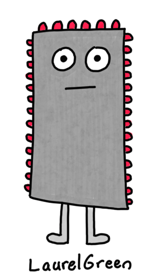 a drawing of a grey rectangular critter covered in red pustules