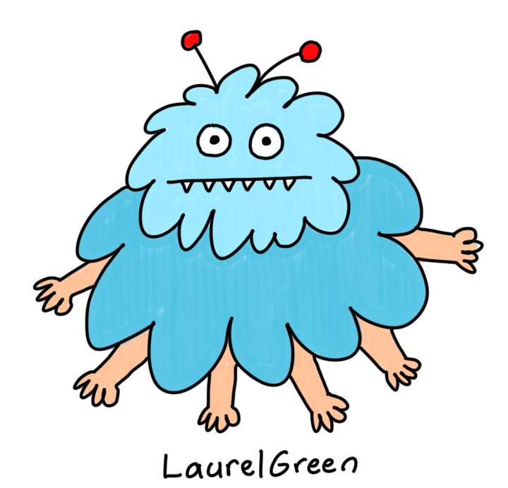 a drawing of a blue cloud monster with antennae and six hands sticking out of it
