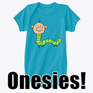 a photo of a baby onesie with an image of a green caterpillar person on it