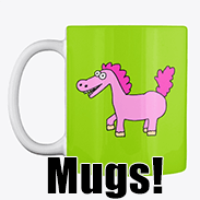 a photo of a green mug with an image of a pink derpy pony on it