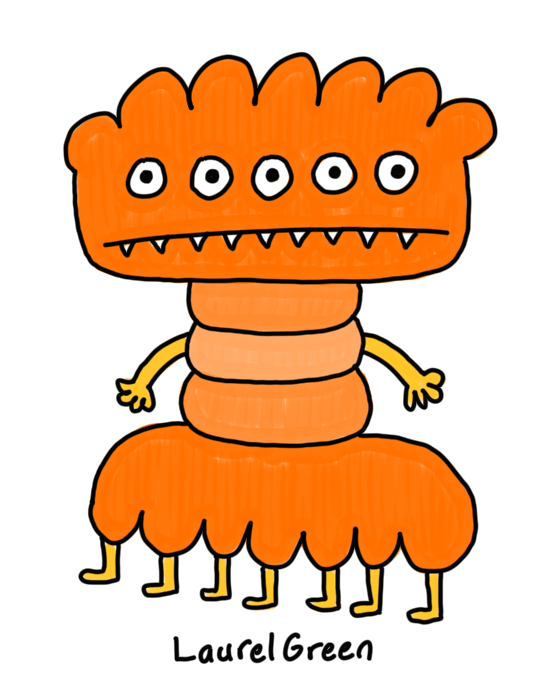 a drawing of a lumpy orange monster with five eyes, seven legs and fangs
