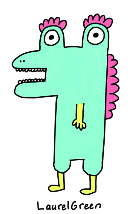 a drawing of a turquoise dinosaur with pink spikes