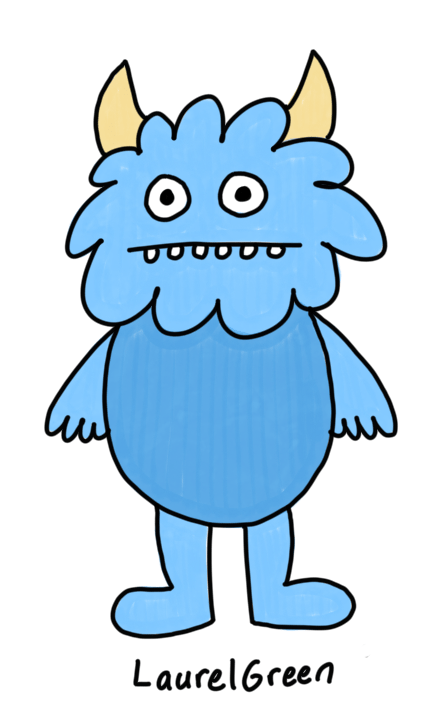 a drawing of a blue demon with horns