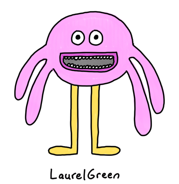 a drawing of a happy pink critter with four droopy things sticking out of its head
