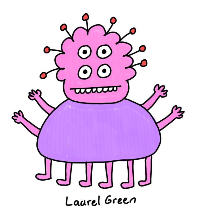 a drawing of a creature with four eyes, four arms, six legs and antennae