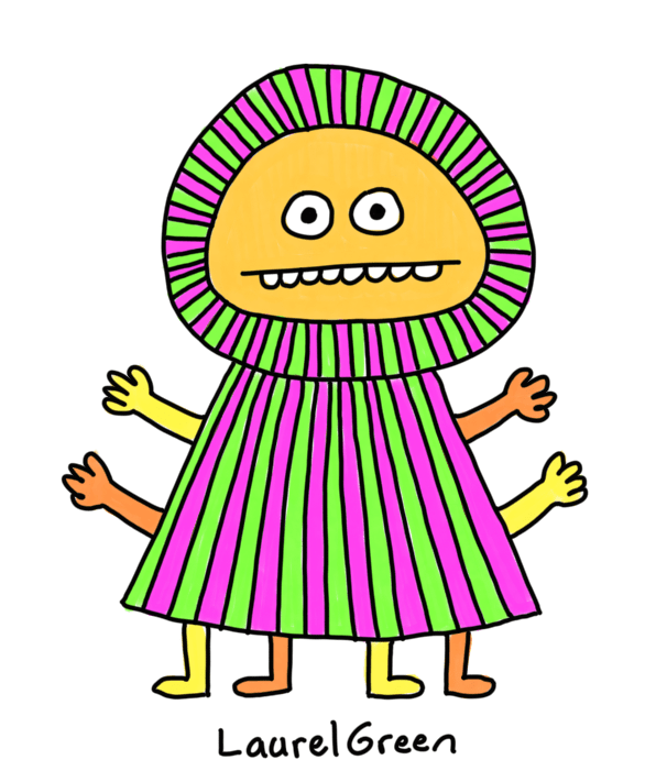 a drawing of a very stripey person with four arms and four legs