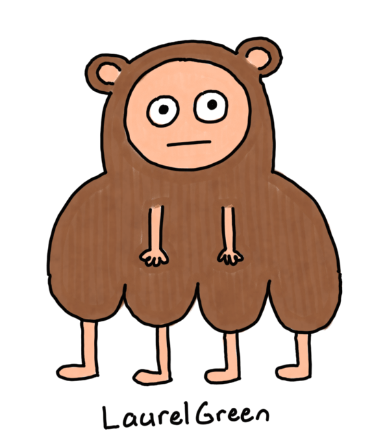 a drawing of a weird bear-human with four legs