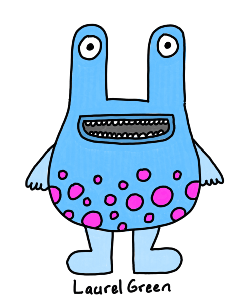 a drawing of a fat blue creature with eyestalks and magenta spots