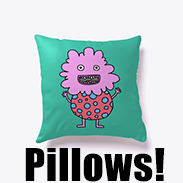 a photo of a turquoise pillow with an image of a spotty, pink, derpy monster on it