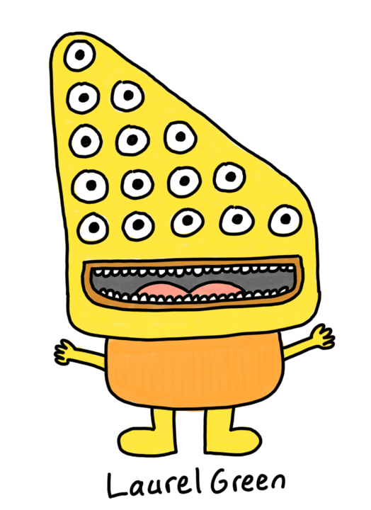 a drawing of a yellow creature with fifteen eyes arranged in a trangle