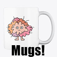 a photo of a white mug with an image of a funny pink fuzzy critter printed on it