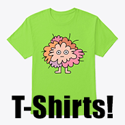a photo of a green t-shirt with a fuzzy pink critter printed on it