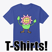 a photo of a blue t-shirt with an image of an anthropomorphic flower person on it