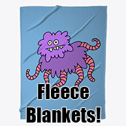 a photo of a blue fleece blanket with a doodle of a purple fuzzy creature with pink tentacles on it
