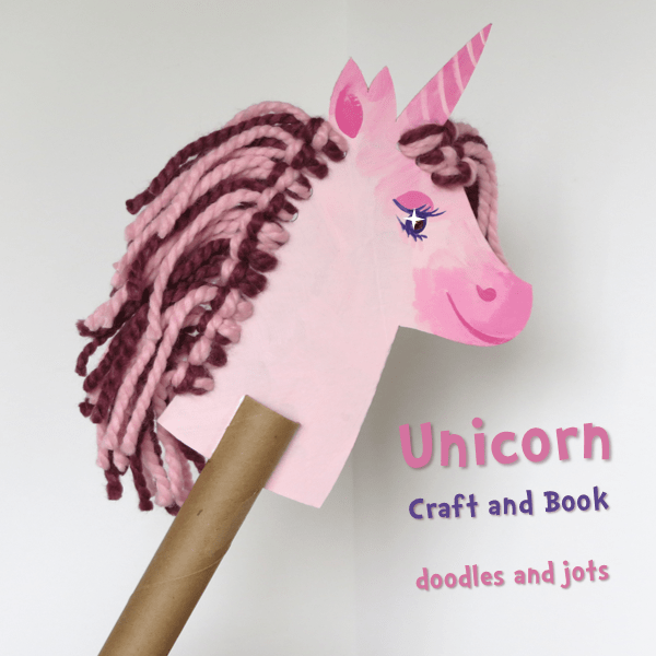Unicorn Book and Craft with pink and red hair