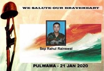 मुख्यमंत्री ने जम्मू कश्मीर के अवंतीपुरा में शहीद हुए जवान राहुल रैन्सवाल की शहादत पर शोक व्यक्त किया